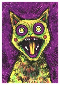 The Yellow Screaming Cat from The Emotional Cats Behance, Kitty, Symbols, Graphic Design, Illustration, Yellow, Skulls, Gatos, Little Kitty