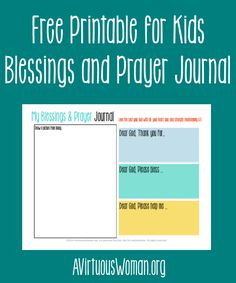 Free printable Blessings and Prayer Journal for Kids... perfect for daily use, homeschool, family worship and more! Get this and over 135 ot...