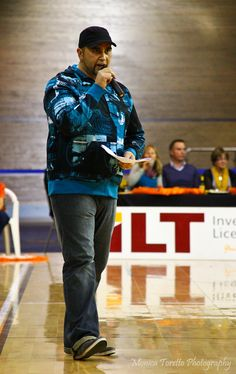 """The man behind the music, DJ Kane """"Big Daddy"""" Johnson in action during Saturday nights game. Another great win by the Southland Sharks on Saturday night, May 25th.  Southland Sharks 94 -  73 Hawks."""