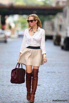 Short neutral skirt, white top, knee boots & great bag. !