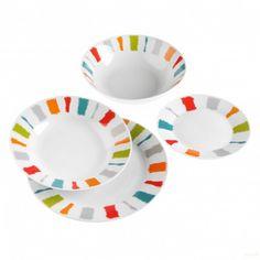 Vajilla Franjas Porcelana 19 piezas Quid #menajemesa Shopping, Dinnerware, Porcelain Ceramics, Get Well Soon, Mesas