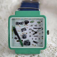 MINI hodinky - Rozvrh - modrozeléné Convenience Store, Mini, Happy, Convinience Store, Ser Feliz, Being Happy
