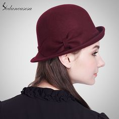 100% Wool From Australian Felt Hat for Women Ladies Bucket Hats With Bowknot Decoration Who like it ? #shop #beauty #Woman's fashion #Products #Hat
