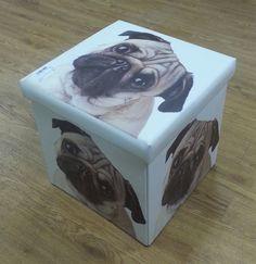 NEW PUG DOG FOLDING STORAGE BOX, PUG DOG OTTOMAN STORAGE, PUG TOY BOX, PUG GIFT