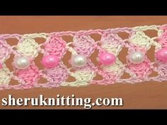 In this video you find how to crochet shell stitch, easy to crochet lace tape, beaded lace tape, crochet shell stitch belt, narrow beaded lace, free crochet ...