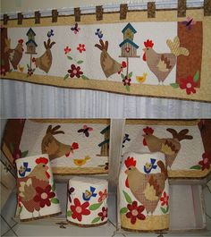 Gallinas I don't wear aprons but these are just outsta Chicken Quilt, Chicken Bird, Chicken Crafts, Patch Quilt, Applique Quilts, Quilting Projects, Sewing Projects, Fridge Decor, Chicken Pattern