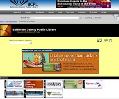 BCPL: Databases (with icon/links) in categories (Business; Downloadable Books & Audiobooks; Encyclopedias, Genealogy & History; Health; Homework; Kids; Literature & Language; Life/Chat Magazines; Magazines & Newspapers) plus search box for catalog & site and this page (Baltimore County Public Library Research Databases & Tools)