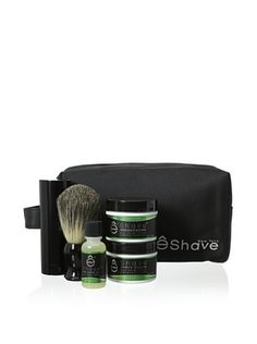 50% OFF eShave Luxury 5-Piece Travel Collection with Bag in Verbena Lime Scent, Black