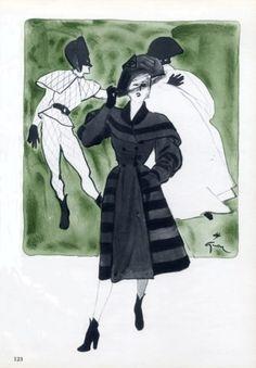 Jacques Fath's classic Harlequin winter coat, 1945.