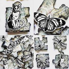 """42 tykkäystä, 5 kommenttia - @hanicio_art Instagramissa: """"JCC #43 Toukokuu 2019 Mixed Media magneetit Inspiraationa bingorivit Roiskeet - revitty - nappi…"""" Instagram Images, Instagram Posts, Mixed Media Art, Napkin, Finland, Bee, Black White, Butterfly, Button"""