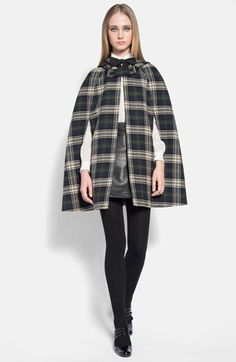 Saint Laurent Hooded Tartan Wool Cape available at #Nordstrom