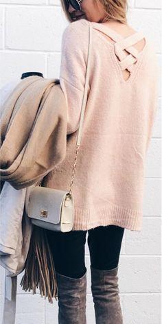#winter #fashion /  Pink Knit   Black Leggings