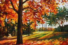 Autumn forest oil painting on canvas by L.Afremov by Leonidafremov (print image)