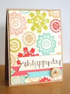 take miscellaneous round/flower stamps for background with coordinating banners on top with sentiment. Avery Elle: Two Amazing Projects by Katie & Maska!!