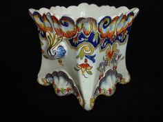 French faience painted cachepot