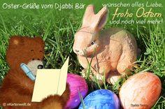 Oster-Grüße vom Djabbi Bär wünschen alles Liebe, frohe Ostern und noch viel mehr! Animierte Osterkarte