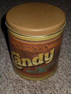 Vintage 1979 Ballonoff Candy Tin Canister Kitchen Metal Sweet Sue's Retro EUC