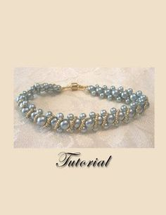 PDF for Aqua Pearl Delight Right Angle Weave beadwoven bracelet beading pattern tutorial - beadweaving beaded seed bead jewelry