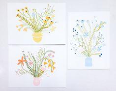 Folk Flower Series Pack of 3, Print Pack, Folk Art Print, Gallery Wall Art, Vintage Inspired Art