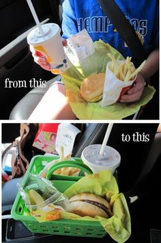 just stash these baskets in the back of your car or trunk for when you and the kids are eating out of the car-Such a great idea-See MORE Tips and Tricks   In-N-Out Hamburgers