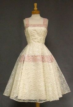 50's Style  :      Picture    Description  Vintage Ivory & Silver Lace & Pink Satin- love the pink contrast    - #50s https://looks.tn/style/50s/50s-style-vintage-ivory-silver-lace-pink-satin-love-the-pink-contrast/