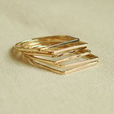 Coupon Code CLOSING - Six Golden Square Top Rings - Set of Six Threads of Gold - Tiny Hammered Stacking Rings - Delicate Jewelry