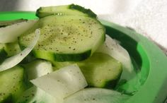 This is a very easy side salad for a picnic or covered dish event.  My mom kept this going in our frig all summer.  I think she got the cucumbers from an aunt and uncle that had a farm nearby.