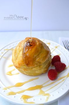 Pear, stuffed with Brie, wrapped in puff pastry and drizzled with honey!
