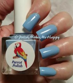 """Parrot Polish! Never a disappointment, that's for sure... This is """"Twitter Blue"""", and I got a lot of comments on this pretty shade of blue! Formula...perfect... wear was great, too! Thank you Parrot Polish!"""