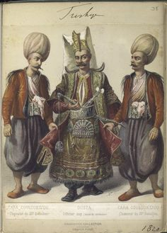 Chasseurs of the battalion with superior officer in ceremonial dress. The Vinkhuijzen collection of military uniforms / Turkey, See McLean's Turkish Army of Turkish Military, Turkish Army, Military Costumes, Military Uniforms, Turkey History, Horn Of Africa, Cradle Of Civilization, Ottoman Empire, North Africa