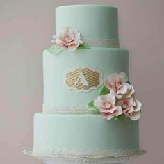 Mint cake w/ gold initial monogram and pink rose fondant