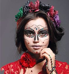 Makeup Halloween Catrina Day Of The Dead Ideas Mexican Halloween, Halloween Kostüm, Halloween Costumes, Halloween Face Makeup, Mexican Costume, Dead Makeup, Sugar Skull Makeup, Up Costumes, Halloween Disfraces