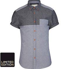 Blue chambray colour block shirt