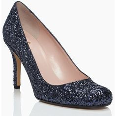 Kate Spade Karolina Heels ($328) ❤ liked on Polyvore featuring shoes, pumps, glitter pumps, glitter shoes, kate spade, kate spade shoes and kate spade pumps