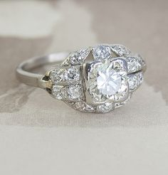 Art Deco Diamond Parallels Engagement Ring, $5,200.00