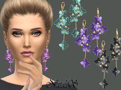 Flower shape gentle drop earrings by NataliS at TSR • Sims 4 Updates