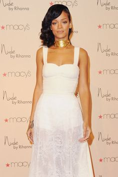 """Sweet Scent: Rihanna dressed up to celebrate the launch of her new fragrance, """"Nude,"""" in LA on Saturday."""