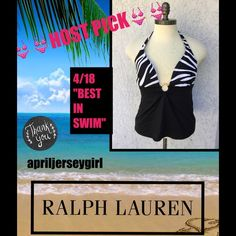 """HP RALPH LAUREN--- Beach Tankini Black and white-- zebra style with gold tone RL circle hardware in front. Has padding that you can take out, or leave in. Gathered in front. EUC.. wore 2 times. Goes around the neck with gold tone fastener. Bust laying flat is 18"""" A ( 36 circumference ) length is 25"""" from top. Nylon/Lycra/Spandex size is 16 woman's. By Lauren Ralph Lauren separates. Ty---------HPBEST IN SWIM by @aschwags---TY AMANDA! Ralph Lauren Swim"""