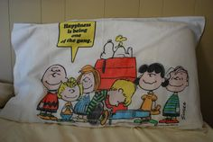 Vintage 70s Peanuts Charlie Brown Snoopy Pillow Case Yep I had the sheet set!