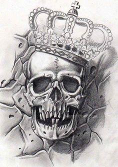 Heavy lies the head… Sketch Tattoo Design, Skull Tattoo Design, Skull Design, Tattoo Designs, Chicano Tattoos, Skull Tattoos, Body Art Tattoos, Tattoo Drawings, Tattoo Studio