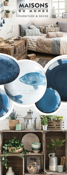 Can't wait to kick back and relax? Create a little seaside paradise just for you with Cabane, a trend to unwind with. Think natural touches, fishy details and blue and white splashes | Maisons du Monde