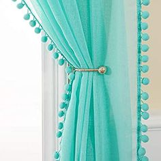 MIULEE Linen Textured Window Sheer Curtains with Pom Pom for Bedroom Living Room Semi Transparent Kids Voile Panels for Light Filtering W 54 x L 90 Inches 2 PCs Turquoise Window Sheers, Sheer Curtains, Voile Panels, Semi Transparent, Light Turquoise, Luxury Bedding, Home Kitchens, Kids Room, Windows