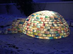 Guy had to build rainbow colored igloo to win his girls' hand. Cute story plus cool how to DIY
