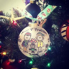 You family is YOU-NIQUE, so is this ornament!  All personalization details need to go in the note to seller section.  Four inch ornament!  Up to FIVE people/pets!! If you have more, they will fit, convo for pricing!!  Shipped USPS Confirmation, Insurance included.