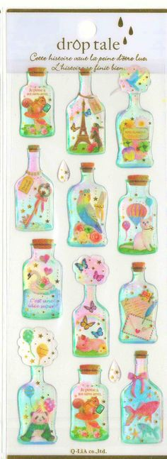 Kawaii Japan Sticker Sheet Assort Droptale Series: Animals in bottles Kitten Panda Cub Parakeet Piglet Chipmunk Gold Fish Fancy