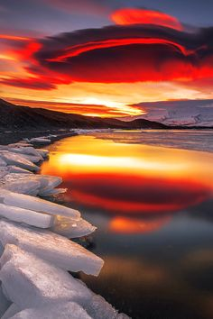 Puesta del sol ártica