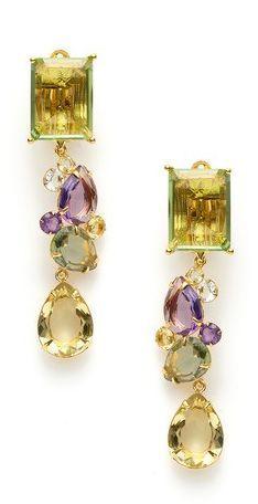 Green Amethyst, Lemon Quartz, & Amethyst Convertible Earrings by Bounkit