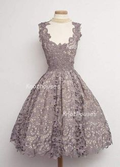 V-neck Dark Grey/ Charcoal Lace knee length Prom Dress/ Vintage lace dress/Princess dress  This dress can be custom made, both size and color can be custom made. Custom size and color made will charge for no extra. If you need a custom dress, please send us messages for your detail requirement...