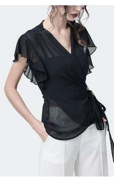 Women Black Chiffon Blouse Butterfly Short Sleeve V Neck Sashes Up Blouses Sexy Slim Fashion Female Summer Blouses S 4XL|Блузки и рубашки| | АлиЭкспресс