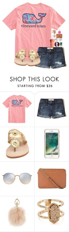 """Untitled #24"" by aehello ❤ liked on Polyvore featuring Hollister Co., Jack Rogers, Griffin, Ray-Ban, MICHAEL Michael Kors, Furla, Kendra Scott and Moon and Lola"